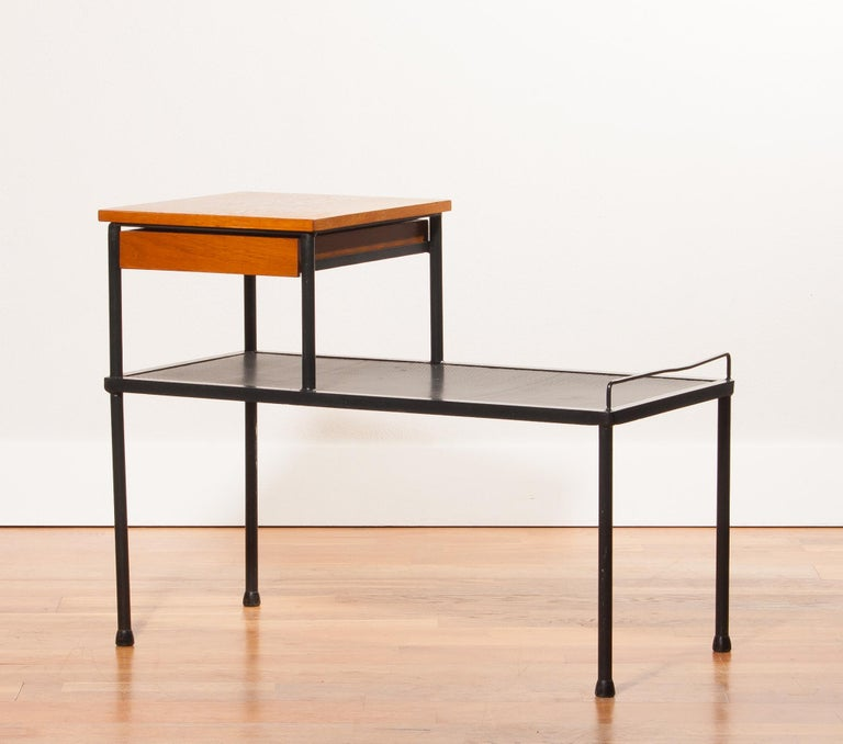 Swedish 1950s Teak and Metal Side Table For Sale