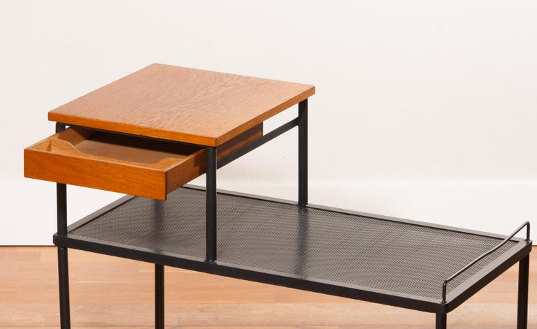 Mid-20th Century 1950s Teak and Metal Side Table For Sale