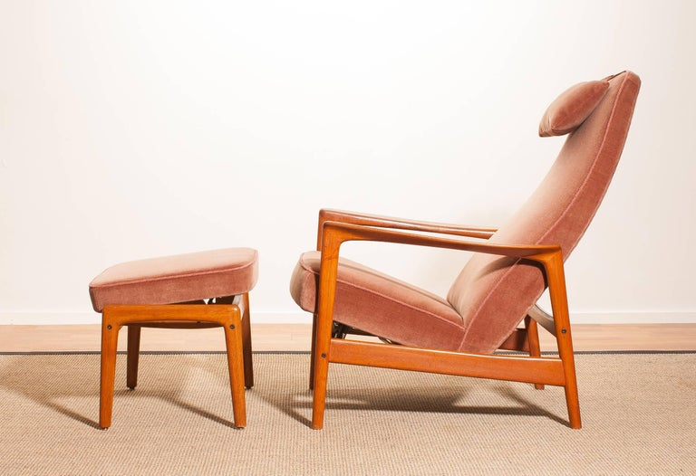 1950s, Teak And Velours Rocking Chair And Ottoman By Folke