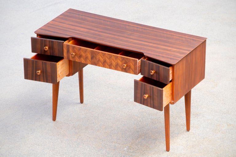 1950s Teak and Walnut Writing Desk with Marquetry For Sale 4