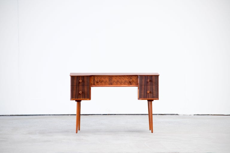 1950s Teak and Walnut Writing Desk with Marquetry For Sale 5
