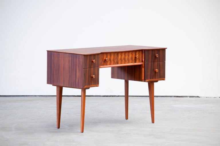 Scandinavian Modern 1950s Teak and Walnut Writing Desk with Marquetry For Sale