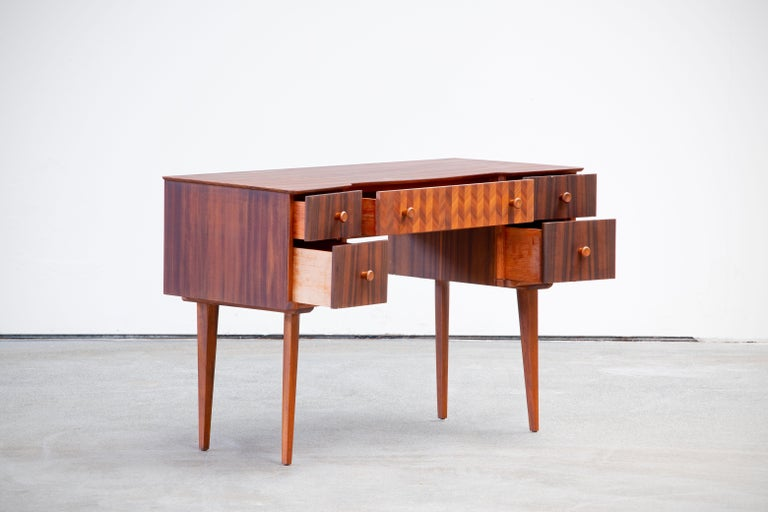 English 1950s Teak and Walnut Writing Desk with Marquetry For Sale