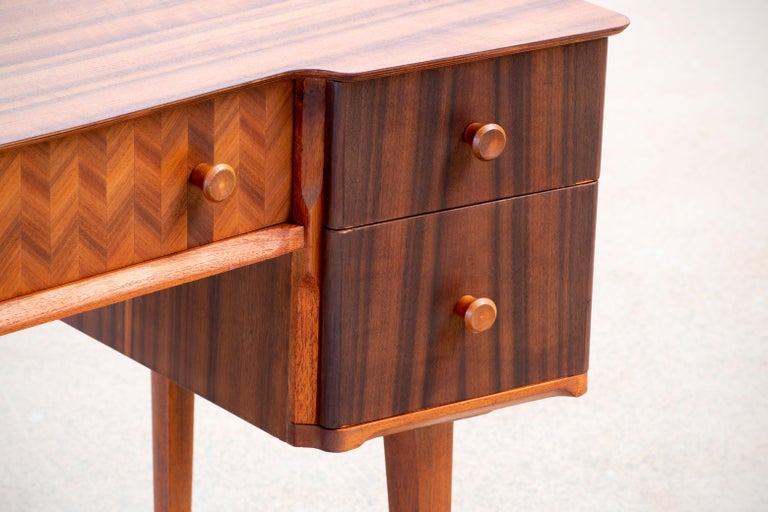 20th Century 1950s Teak and Walnut Writing Desk with Marquetry For Sale