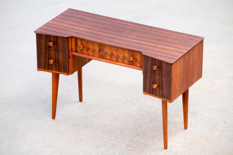 1950s Teak and Walnut Writing Desk with Marquetry For Sale 2