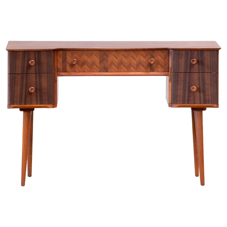 1950s Teak and Walnut Writing Desk with Marquetry For Sale