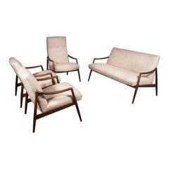 1950s Teak Living Room Sofa Set by Lohmeyer Upholstered à la Coco Chanel