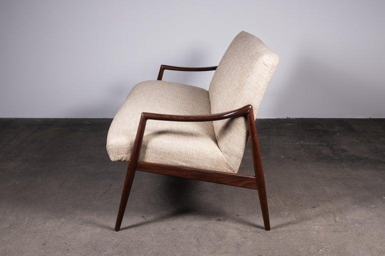 Mid-Century Modern 1950s Teak Loveseat Sofa by Lohmeyer Upholstered à la Coco Chanel For Sale