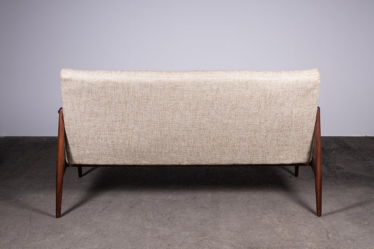 German 1950s Teak Loveseat Sofa by Lohmeyer Upholstered à la Coco Chanel For Sale