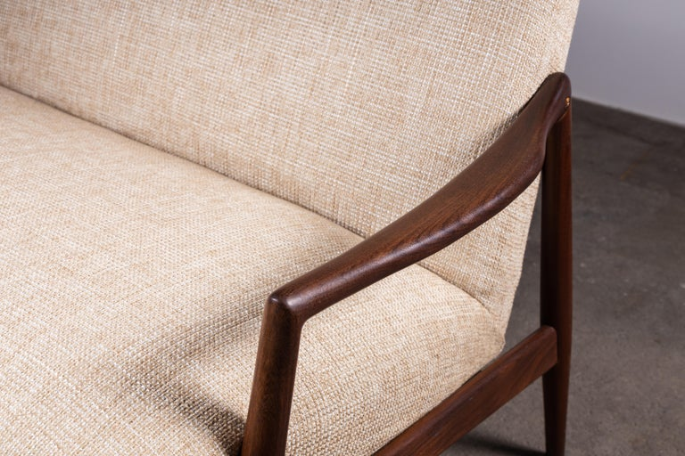 Mid-20th Century 1950s Teak Loveseat Sofa by Lohmeyer Upholstered à la Coco Chanel For Sale