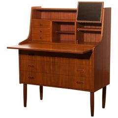 1950s, Teak Secretaire or Dressing Table in Style of Peter Hvind