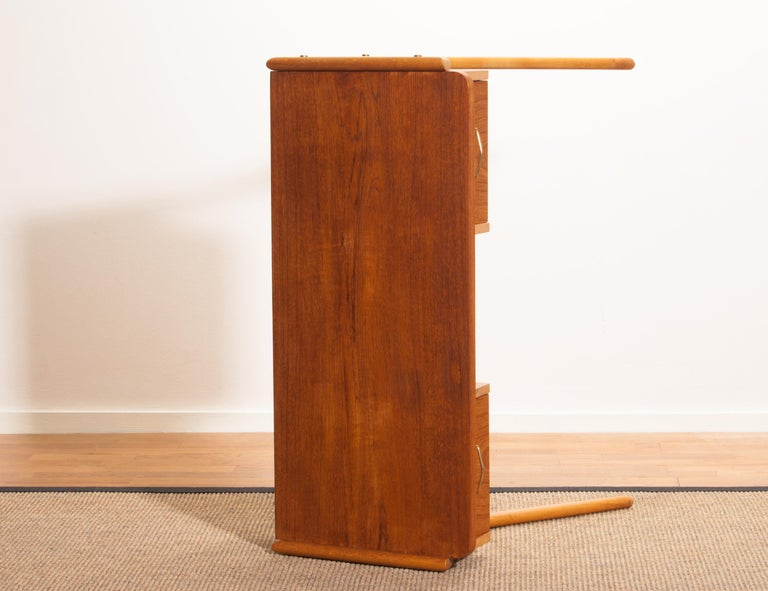 Sidetable Teak 3 Lades.1950s Teak Swedish Side Table Or Ladies Desk For Sale At