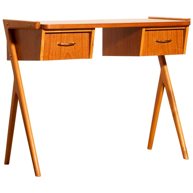 Mid-Century Modern 1950s, Teak Swedish Vanity or Ladies Desk For Sale