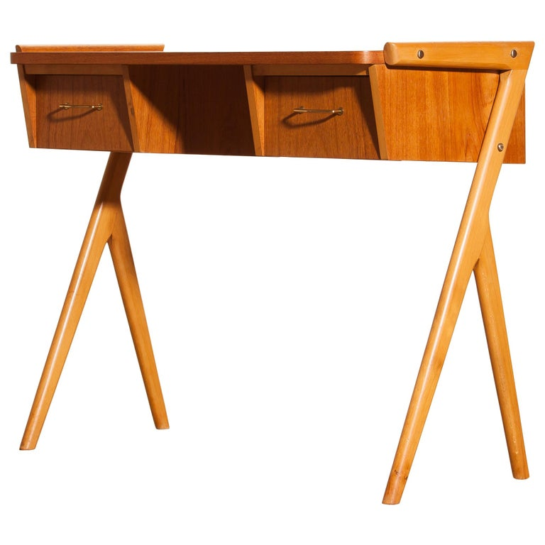 Mid-Century Modern 1950s, Teak Swedish Vanity or Ladies Desk For Sale
