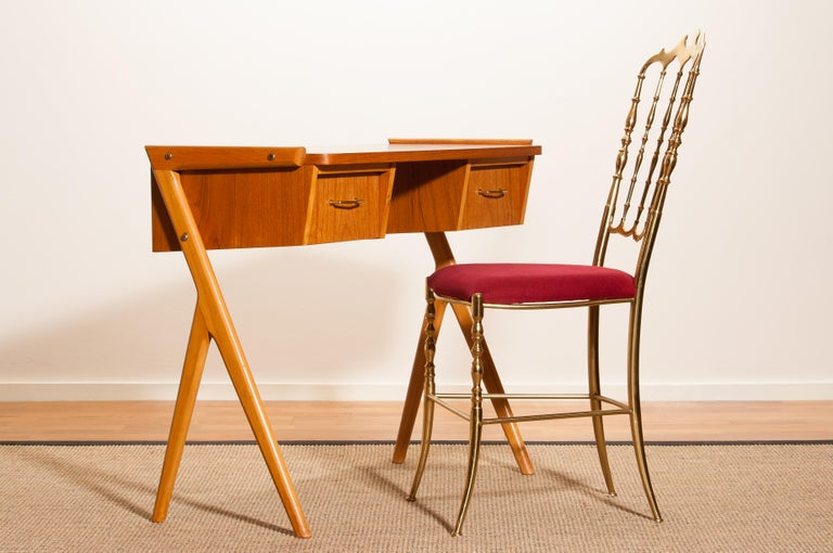 Brass 1950s, Teak Swedish Vanity or Ladies Desk For Sale