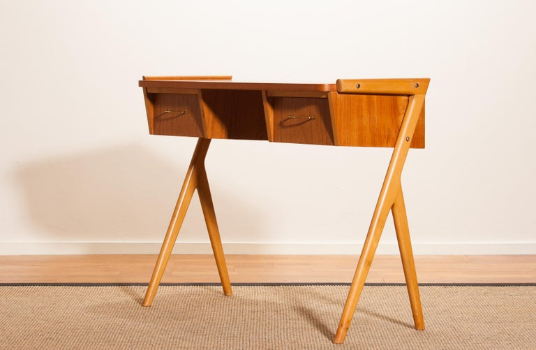 1950s, Teak Swedish Vanity or Ladies Desk 1