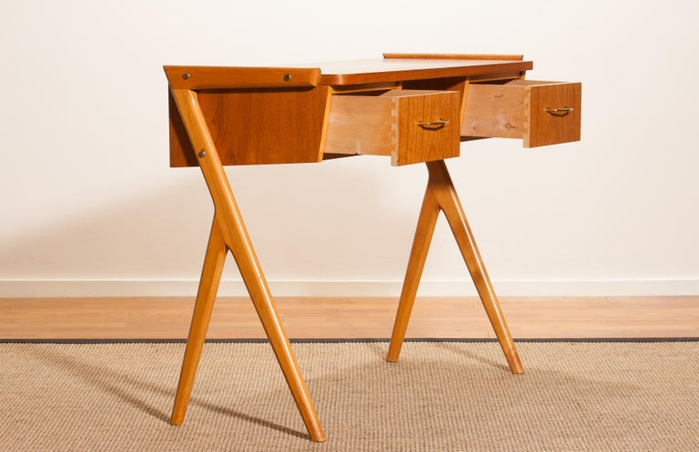 1950s, Teak Swedish Vanity or Ladies Desk For Sale 1