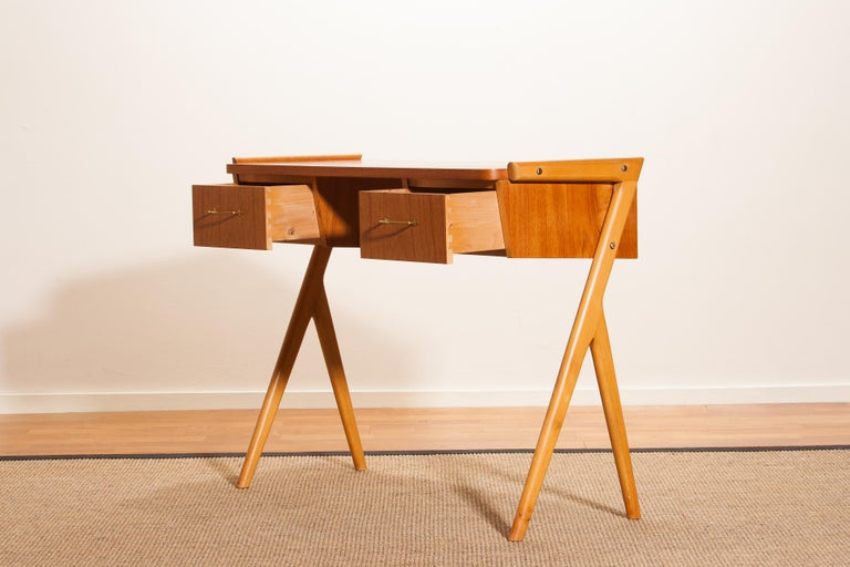 1950s, Teak Swedish Vanity or Ladies Desk For Sale 3