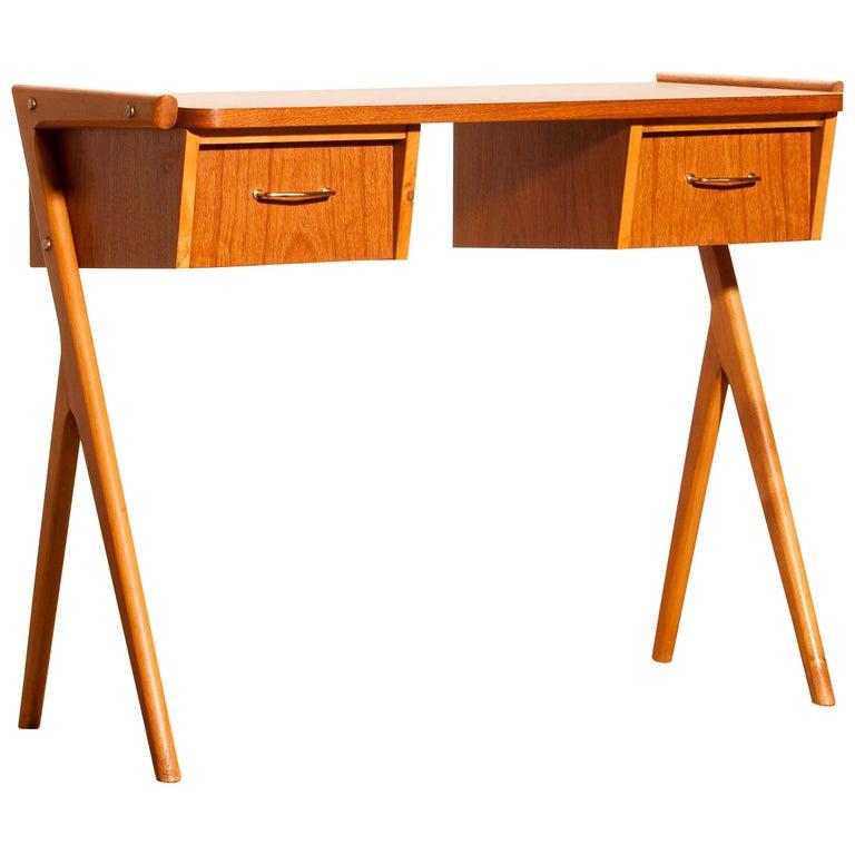 1950s, Teak Swedish Vanity or Ladies Desk