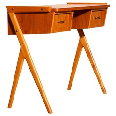 1950s, Teak Swedish Vanity or Ladies Desk