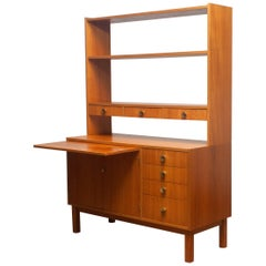 1950s Teak Veneer and Brass Bookshelves Cabinet with Writing Space from Sweden