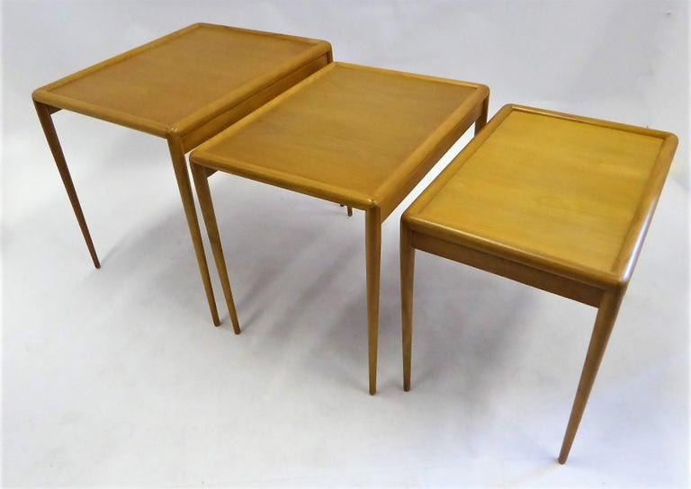 1950s Robsjohn-Gibbings Mid Century Modern Nesting Stacking Tables for Widdicomb For Sale 4