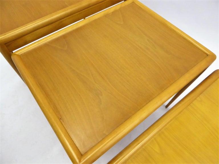 1950s Robsjohn-Gibbings Mid Century Modern Nesting Stacking Tables for Widdicomb For Sale 6