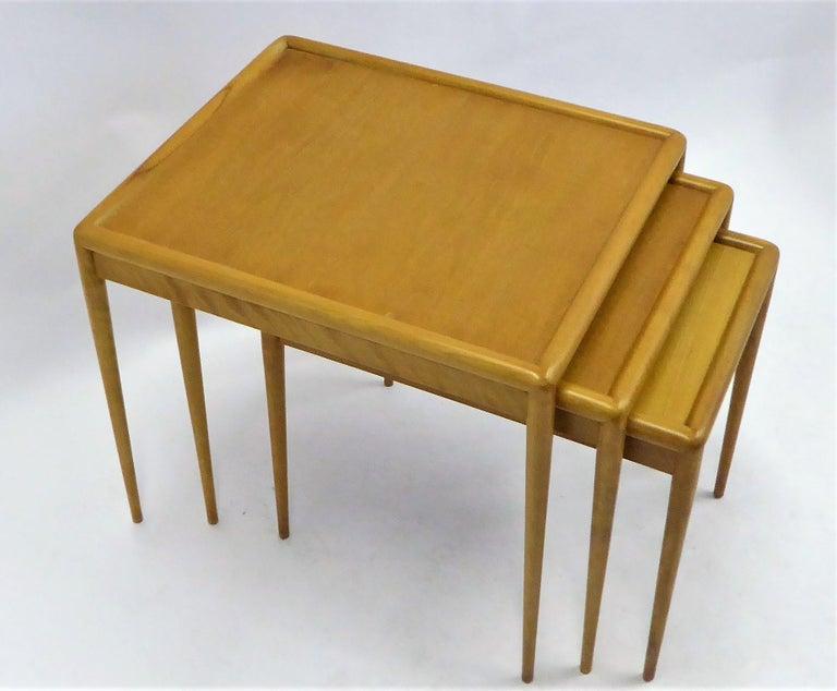 Mid-Century Modern 1950s Robsjohn-Gibbings Mid Century Modern Nesting Stacking Tables for Widdicomb For Sale
