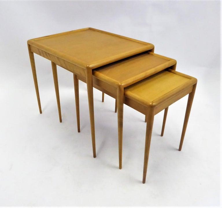 American 1950s Robsjohn-Gibbings Mid Century Modern Nesting Stacking Tables for Widdicomb For Sale