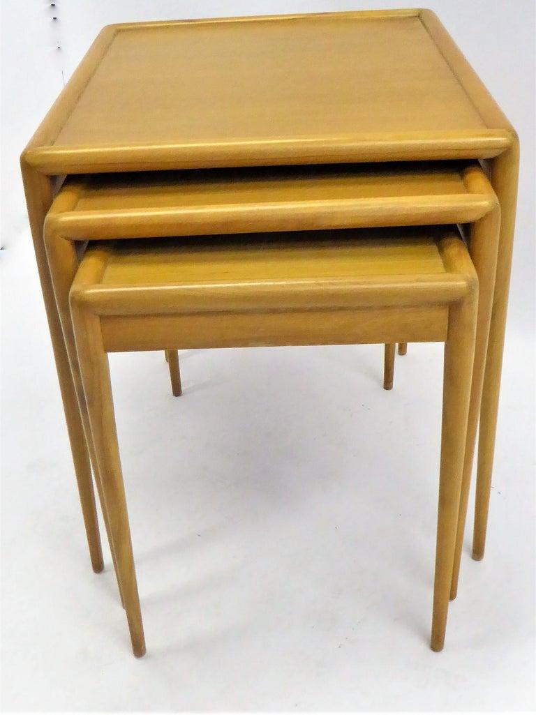 Mid-20th Century 1950s Robsjohn-Gibbings Mid Century Modern Nesting Stacking Tables for Widdicomb For Sale