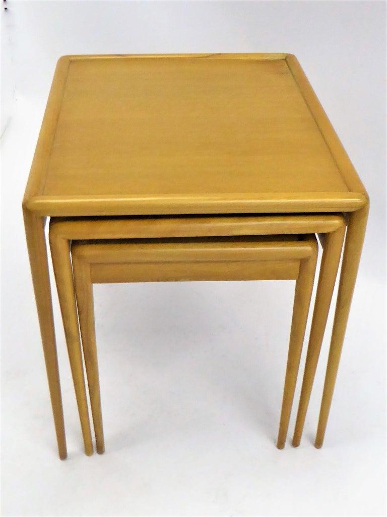 Wood 1950s Robsjohn-Gibbings Mid Century Modern Nesting Stacking Tables for Widdicomb For Sale