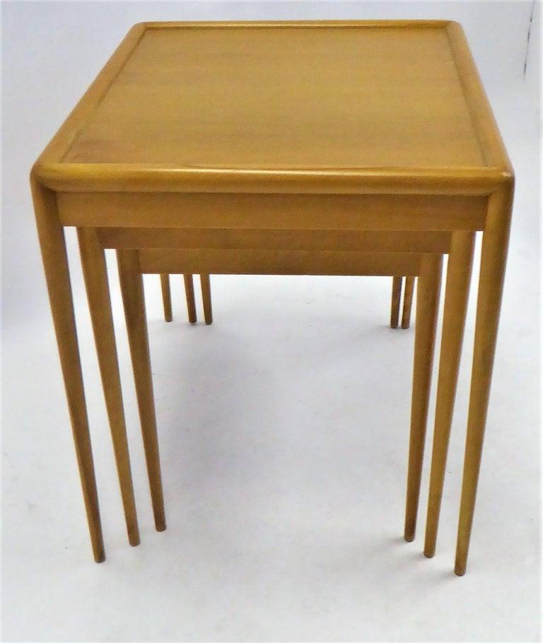 1950s Robsjohn-Gibbings Mid Century Modern Nesting Stacking Tables for Widdicomb For Sale 2