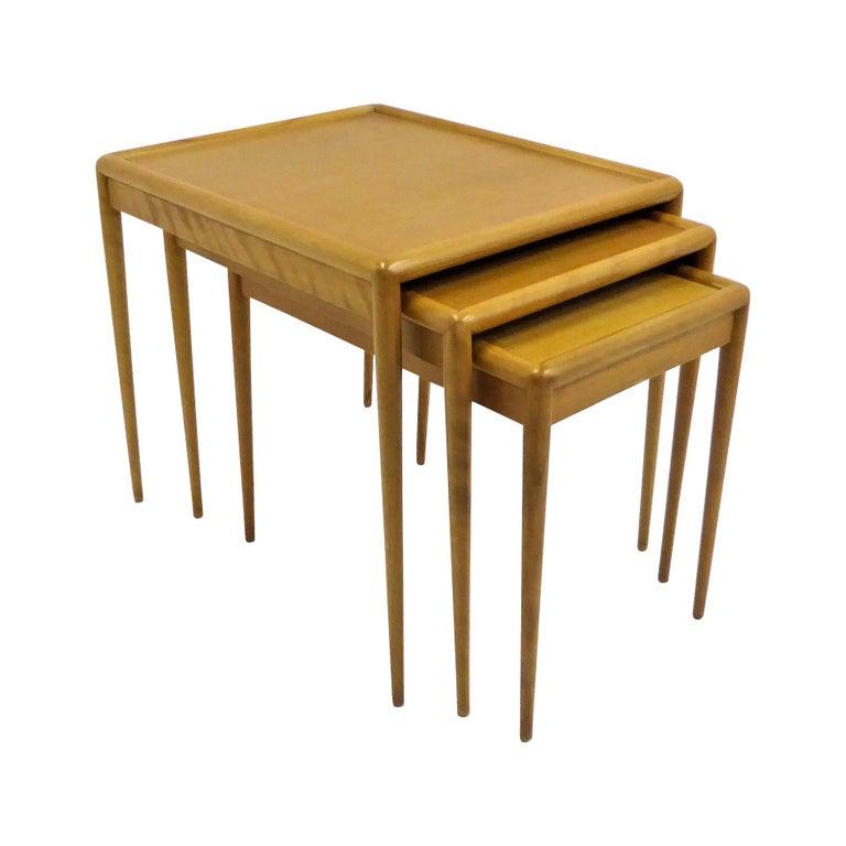 1950s Robsjohn-Gibbings Mid Century Modern Nesting Stacking Tables for Widdicomb For Sale