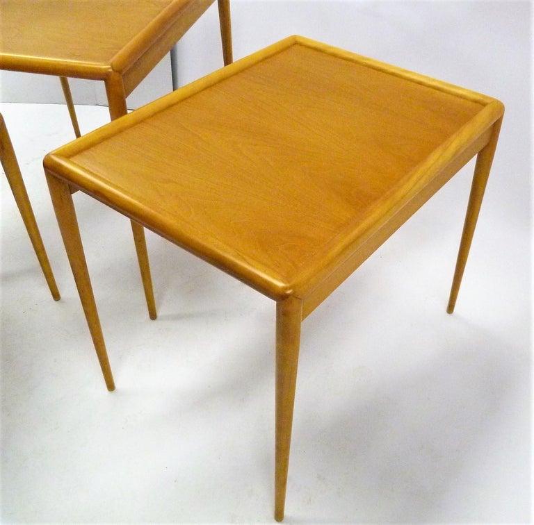 T.H. Robsjohn Gibbings MidCentury  Modern Walnut Nesting Tables Widdicomb 1950s For Sale 4