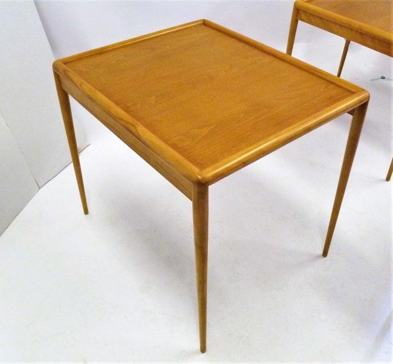 T.H. Robsjohn Gibbings MidCentury  Modern Walnut Nesting Tables Widdicomb 1950s For Sale 5