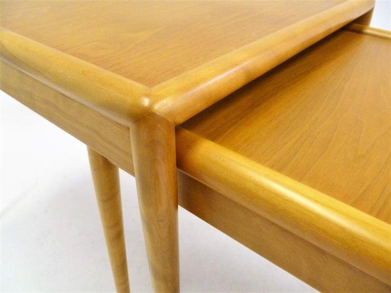 T.H. Robsjohn Gibbings MidCentury  Modern Walnut Nesting Tables Widdicomb 1950s For Sale 7