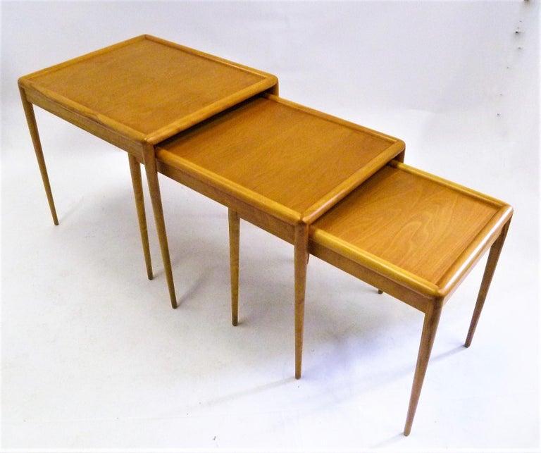 Mid-Century Modern T.H. Robsjohn Gibbings MidCentury  Modern Walnut Nesting Tables Widdicomb 1950s For Sale