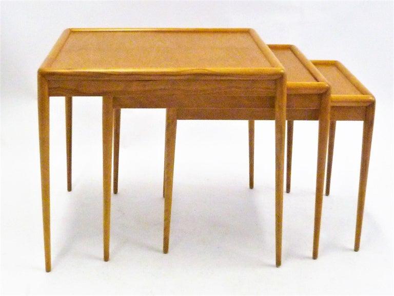 Mid-20th Century T.H. Robsjohn Gibbings MidCentury  Modern Walnut Nesting Tables Widdicomb 1950s For Sale