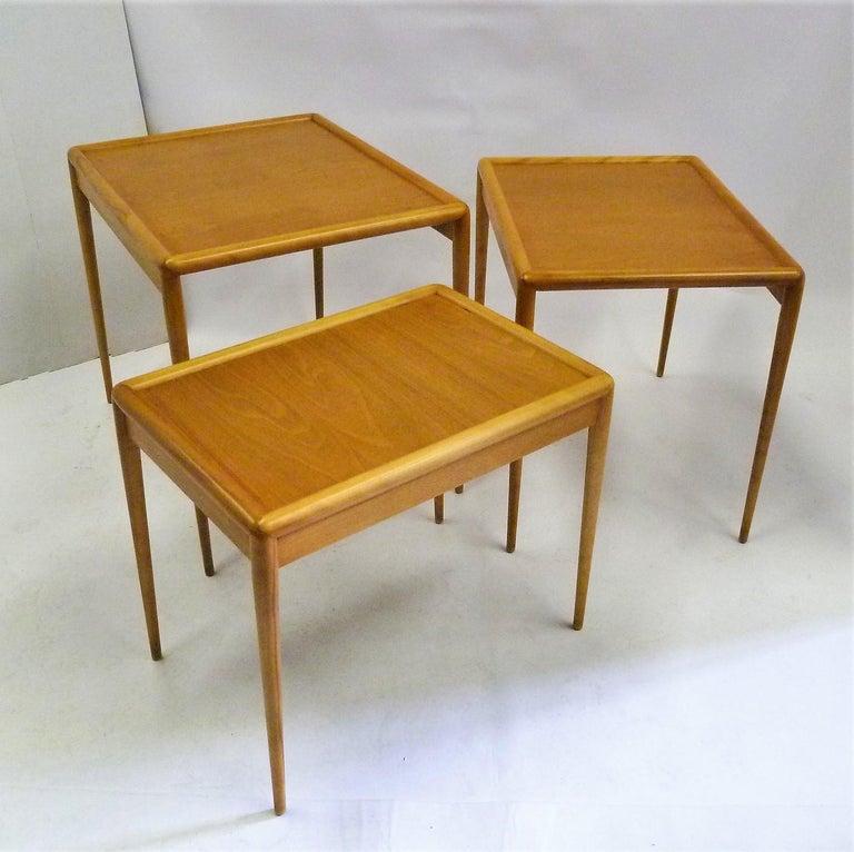 T.H. Robsjohn Gibbings MidCentury  Modern Walnut Nesting Tables Widdicomb 1950s For Sale 2