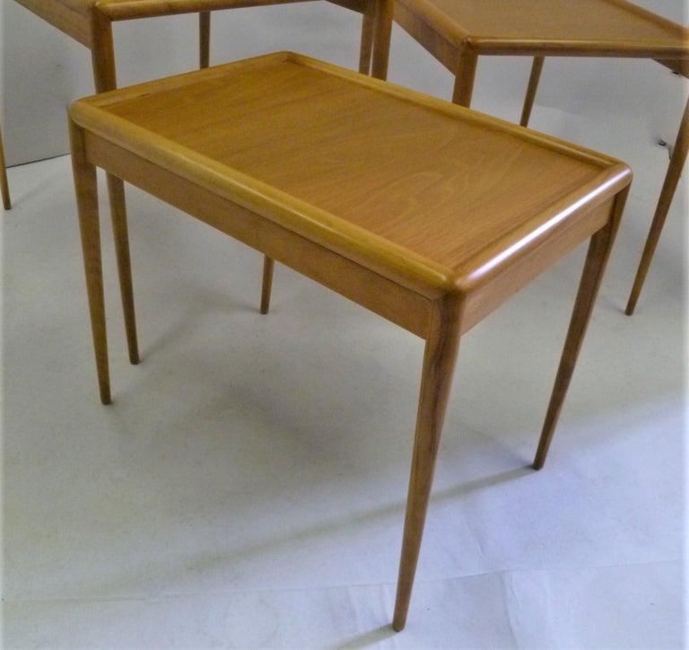 T.H. Robsjohn Gibbings MidCentury  Modern Walnut Nesting Tables Widdicomb 1950s For Sale 3