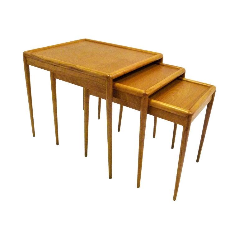 T.H. Robsjohn Gibbings MidCentury  Modern Walnut Nesting Tables Widdicomb 1950s For Sale