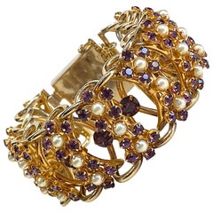 1950s There Dimensional Open Link Purple Rhinestone Bracelet
