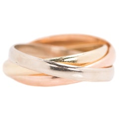 1950s Three-Band Rolling Ring in Tricolor 14 Karat Gold