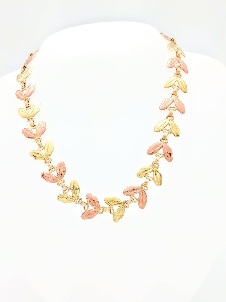 Modern 1950s Tiffany & Co. Pink and Yellow Gold Leaf Necklace For Sale