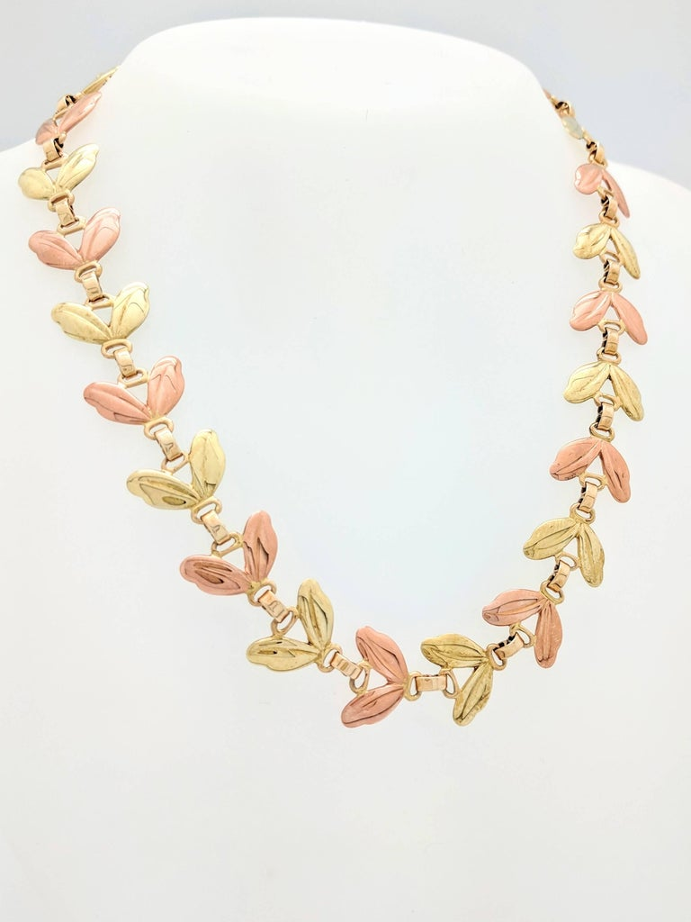 Women's 1950s Tiffany & Co. Pink and Yellow Gold Leaf Necklace For Sale