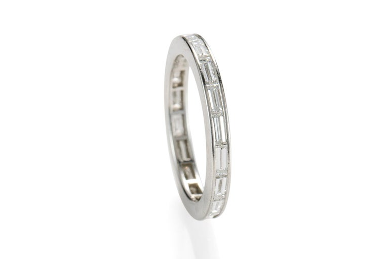 1950s Tiffany & Co. 2 Carat Total Diamond Eternity Band, Platinum In Excellent Condition For Sale In Hicksville, NY