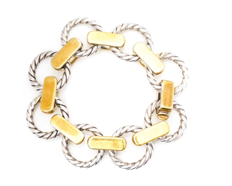 Retro 1950s Tiffany & Co Bracelet, Sterling Silver and 18 Karat Gold For Sale