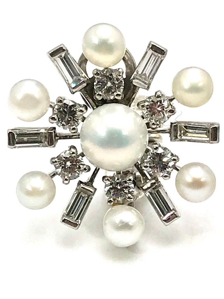 Retro 1950s Tiffany & Co. Diamond and Cultured Pearl White Gold Clip Back Earrings For Sale
