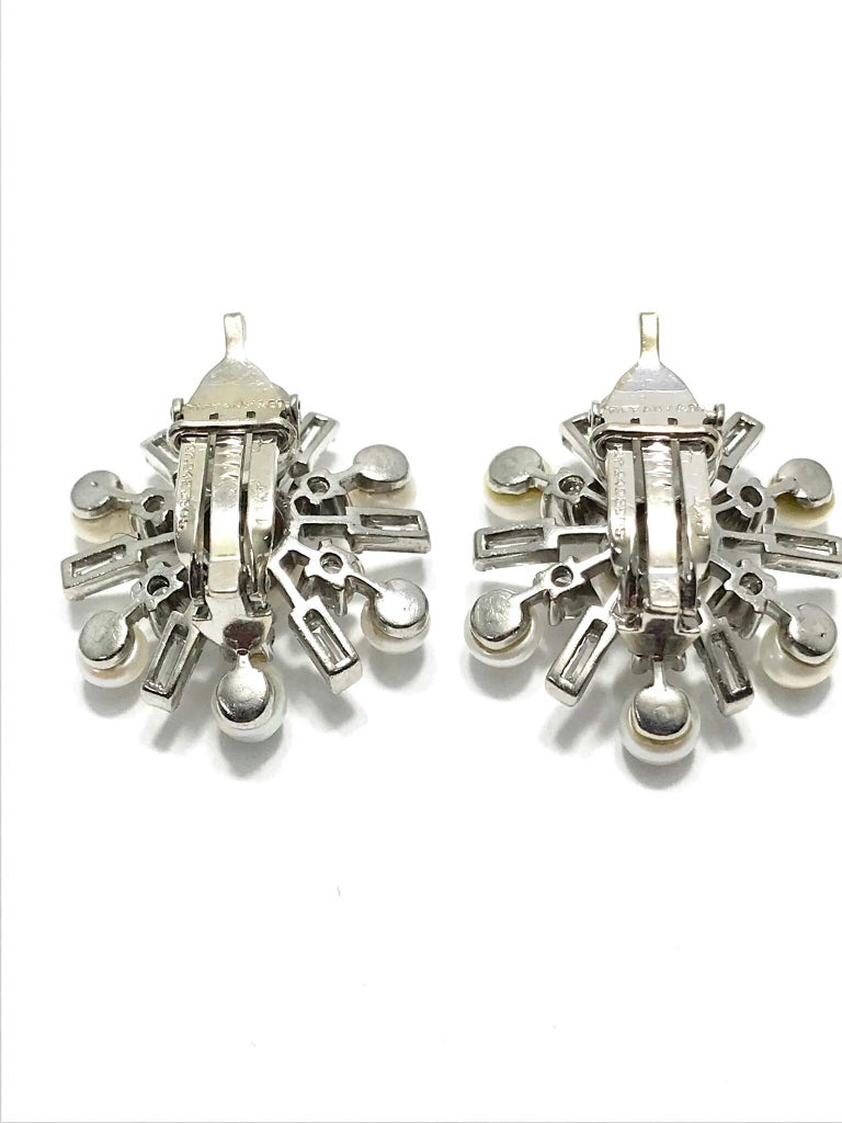 1950s Tiffany & Co. Diamond and Cultured Pearl White Gold Clip Back Earrings In Excellent Condition For Sale In Washington, DC