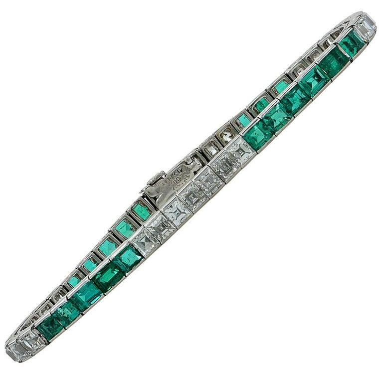 1950s Tiffany & Co. Diamond Emerald Platinum Line Bracelet In Excellent Condition For Sale In Boca Raton, FL